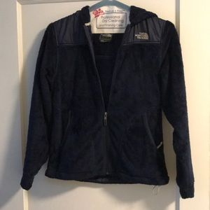 North Face fuzzy navy blue zip hoodie jacket small